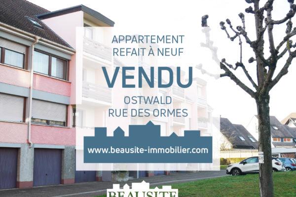VENDU - Bel appartement 3 pièces rénové avec garage - Ostwald