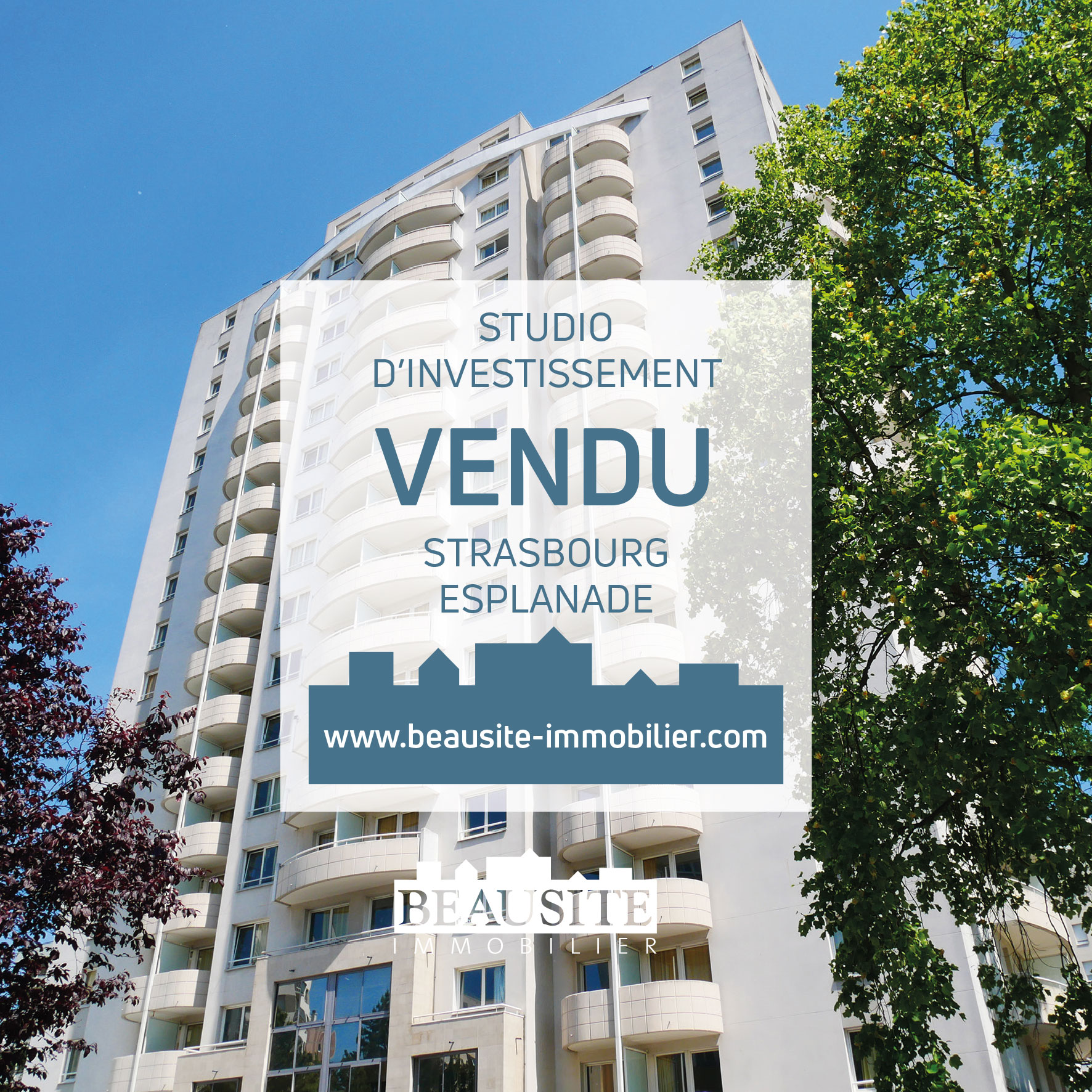 VENDU - Lumineux studio avec balcon - Strasbourg Esplanade - nos ventes - Beausite Immobilier 1